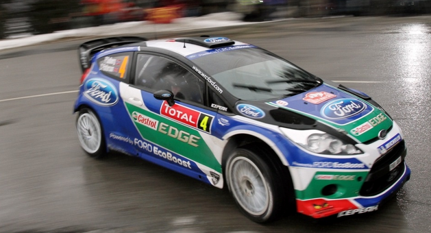 A Ford Fiesta RS driven by Peter Solberg competing in the WRC Rally