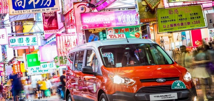 2014 Ford Transit Connect Taxi Hong Kong neon lights