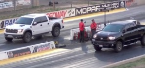 Ford F-150 SVT Raptor vs. Toyota Tundra TRD - race