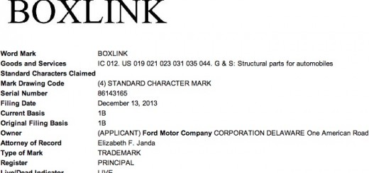 Ford BOXLINK trademark filing