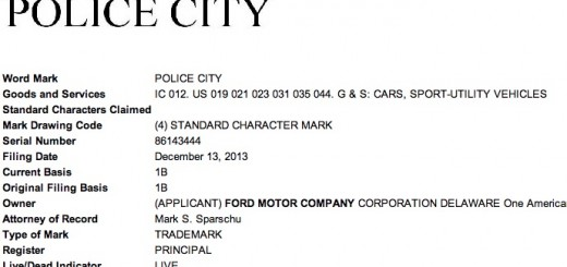 Ford Police City Trademark Filing