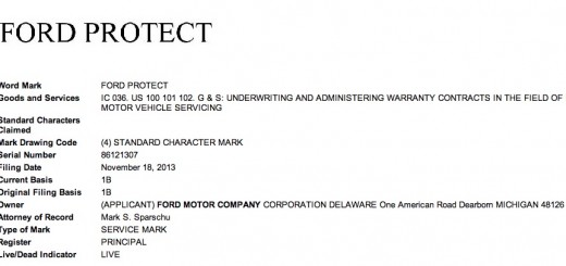 Ford Protect trademark filing