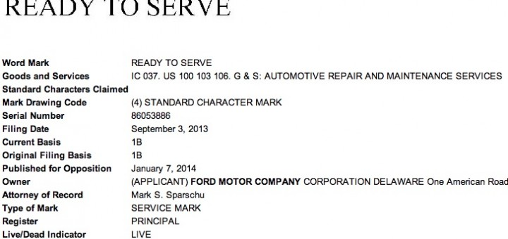 Ford Ready to Serve Trademark