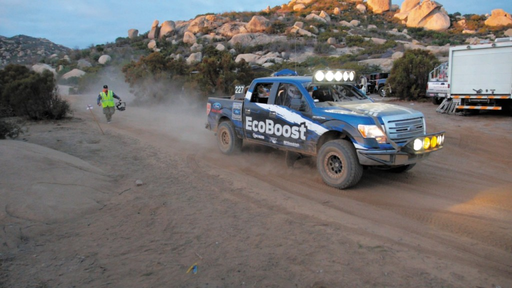 A disguised 2015 Ford F-150 powered by the new 2.7-liter V6 EcoBoost engine competes in the 2013 Baja 1000, finishing all 883 miles of the race