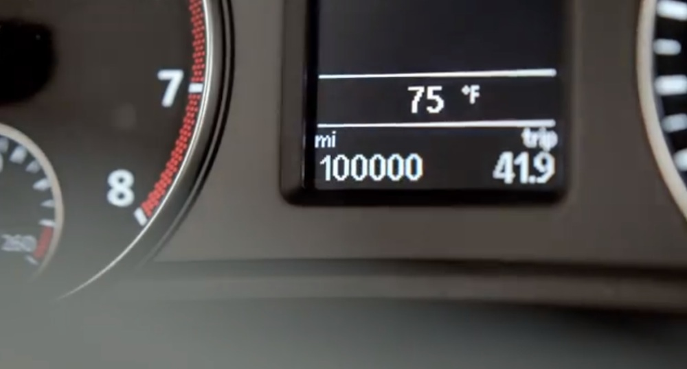 The Passat's odometer rolls over to the coveted 100,000 miles