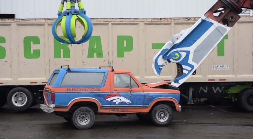Seattle Seahwks Fans Destroy Ford Bronco In Video