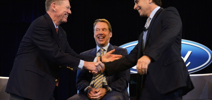 Ford Alan Mulally Mark Fields CEO handoff
