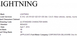 Ford Lightning Trademark