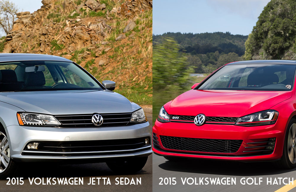 Notice the styling differences between the sixth-gen VW Jetta Sedan and seventh-gen VW Golf GTI Hatchback