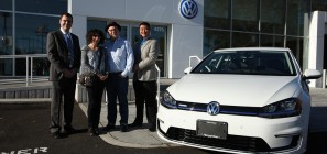 Bruce Oberg with his 2015 VW e-Golf - the first e-Golf to be sold in the United States.