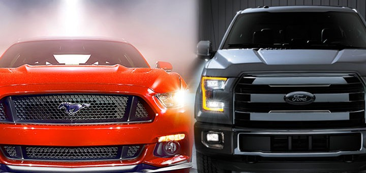 2015 Ford Mustang and 2015 Ford F-150 side by side