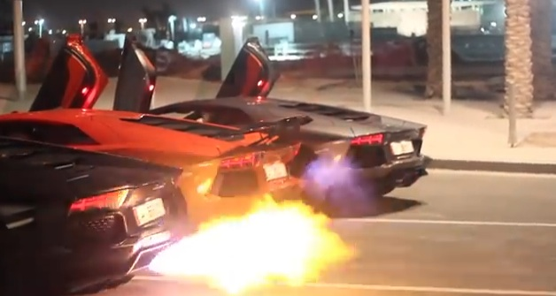 Lamborghini Flame Throwing Contest