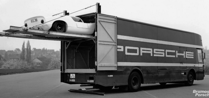 Porsche Race Car transporter Mercedes Van Buster