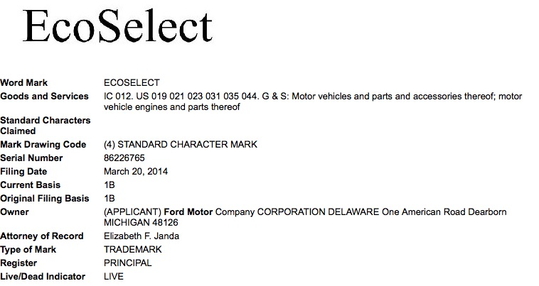 Ford's trademark filing for EcoSelect with the USPTO