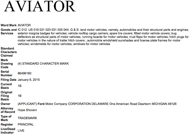 Ford Lincoln Aviator Trademark Application USPTO