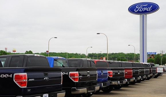 Ford F-150 models on dealer lot
