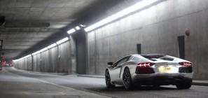 Lamborghini Aventador Racing Through Tunnel