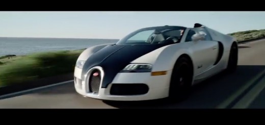 Bugatti Veyron driving down the beach