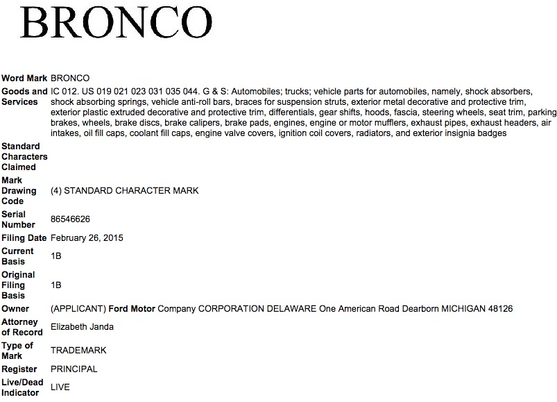 Ford Bronco Trademark 2015