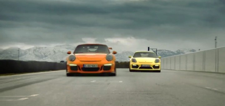 The Porsche 911 GT3 RS (left) and Cayman GT4 (right), being boss as Porsches are wont to do.