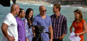 Paul Walker (second from right) stands with fellow Fast Five castmembers, and The Today Show's Natalie Morales. Photo: Jack Zalium