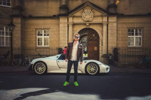 Ingo Vandenberghe of Austria, posing with the Porsche 918 Spyder.
