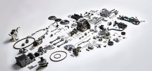 The 1.0-liter Ford EcoBoost I3: it looks bigger, when it's disassembled and strewn about the floor.