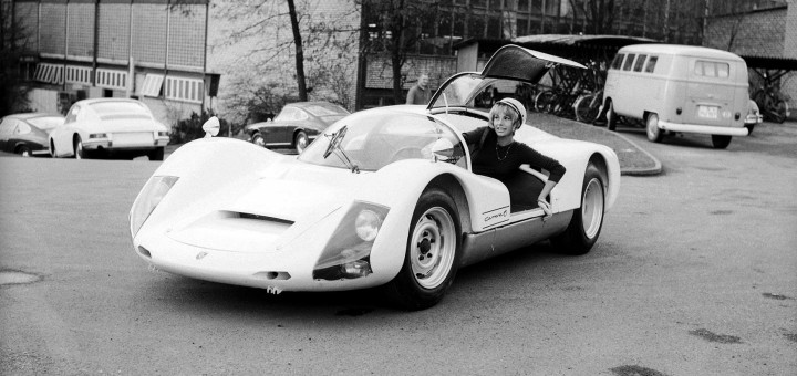 A Porsche 906/Carrera 6 being collected from Zuffenhausen in 1966.