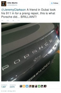 Porsche 911 with a misspelling-Tweet