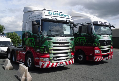 Scania and Man trucks side by side