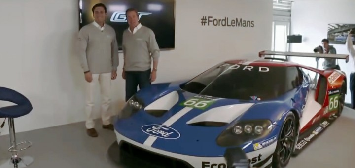 Ford CEO Mark Fields (left), standing with Executive Chairman Bill Ford (right), beside the new Ford GT race car.