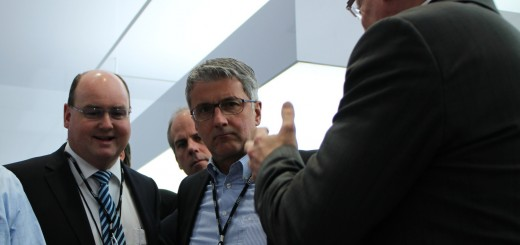 Audi CEO Rupert Stadler (right), and Audi America Head of Electronics Development Ricky Hudi at the 2014 CES.