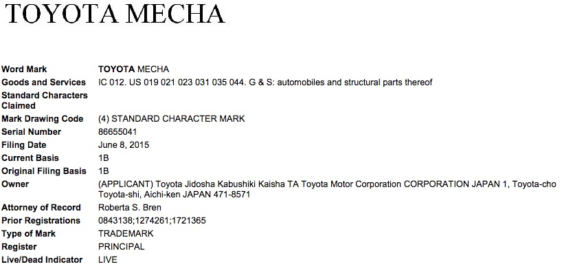 Toyota Mecha trademark filing USPTO