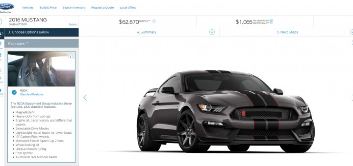 2016 Ford Shelby GT350R configurator
