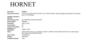 Dodge Hornet Trademark filing