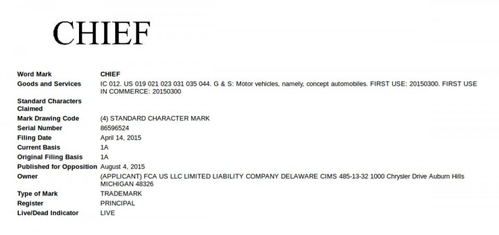 Jeep Chief Trademark filing
