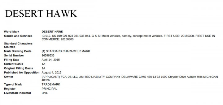 Jeep Desert Hawk Trademark filing