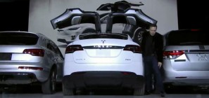 Tesla Model X falcon-wing doors demo