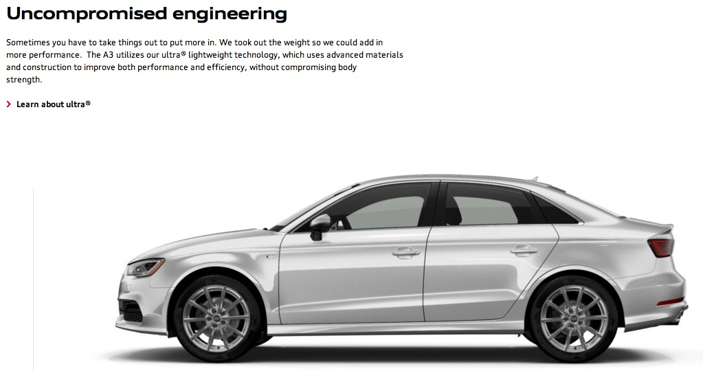 "AudiUSA.com suggests that the new A3 was developed with ""uncompromised engineering"""