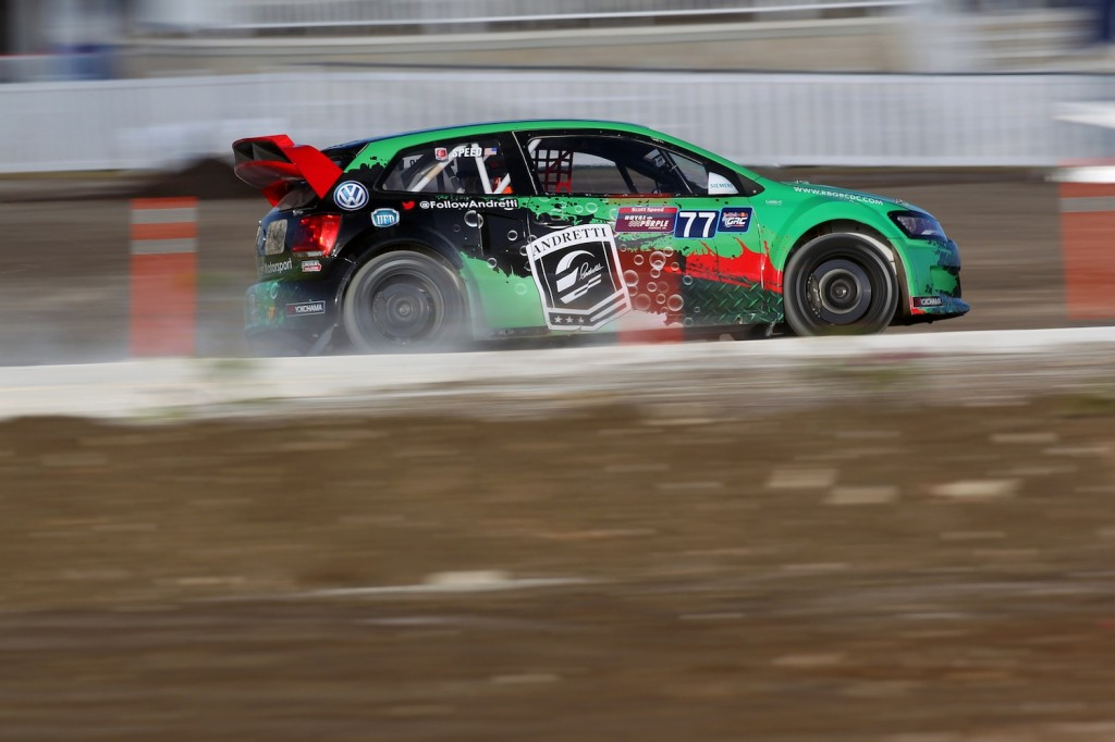 Scott Speed competes at Red Bull Global Rallycross Round 1, in Barbados on 18 May 2014.