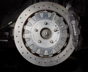 Iron rotors were found to be superior to carbon ceramic. The Shelby GT350 features 15.5-inch iron rotors in front, and 15-inch units in back.
