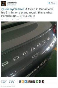 Porsche 911 with a misspelling-Tweet