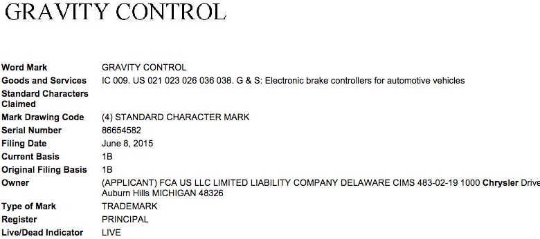 Fiat Chrysler Gravity Control Trademark Application