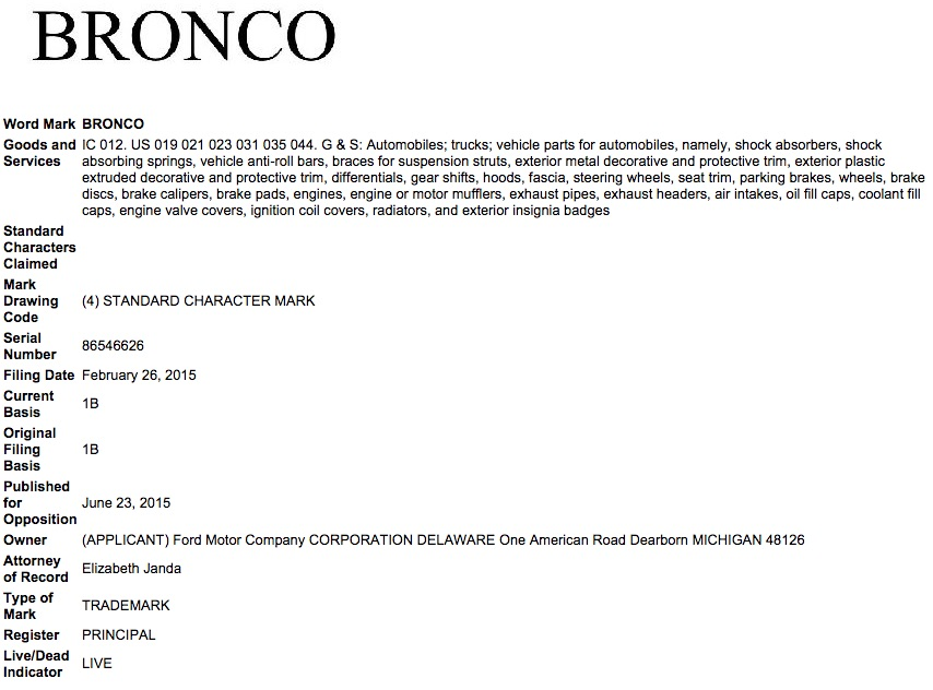 Ford Bronco February 26, 2015 Trademark Application