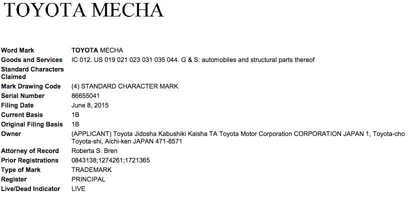 Toyota Mecha trademark filing USPTO