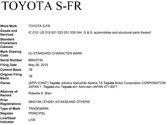 Toyota S-FR Trademark Application USPTO