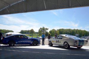 The new, 2016 Shelby GT350 alongside a race-spec 1965 Shelby G.T. 350R. Photo: Aaron Birch